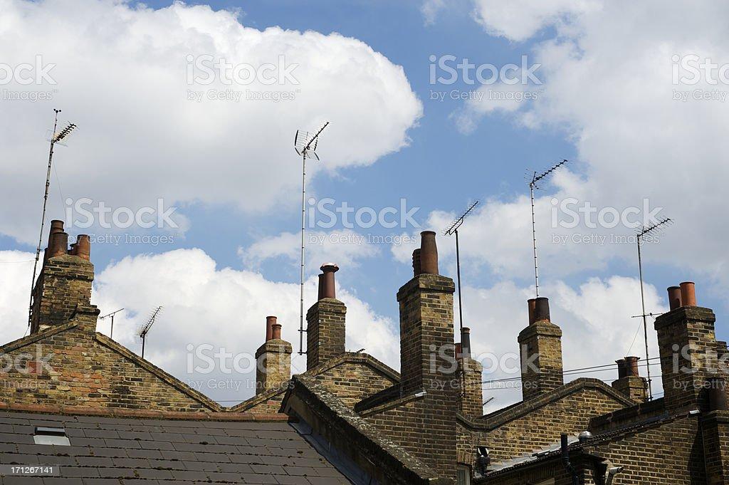 Old Chimney Stacks London Skyline royalty-free stock photo