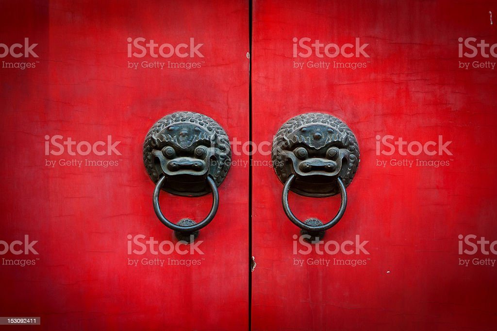 Old chinese door stock photo