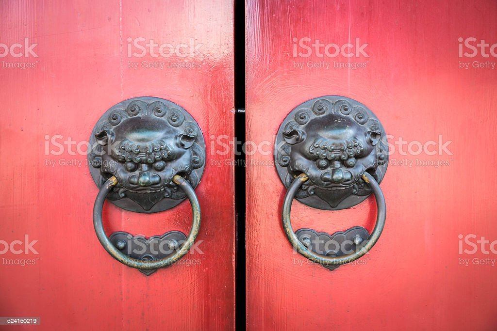 Old chinese door stock photo