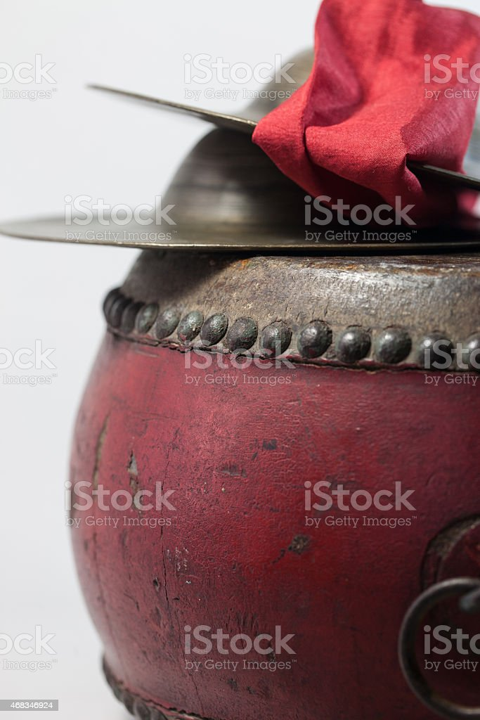 Old Chinese drum and cymbals stock photo