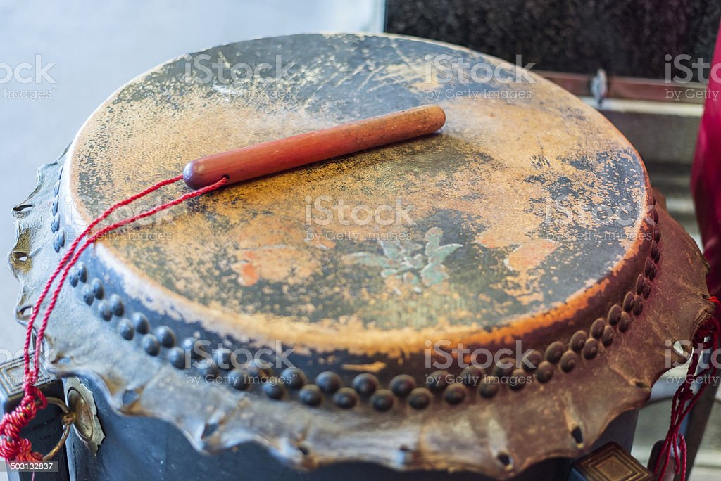 Old chinese drum stock photo