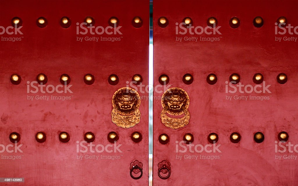 Old chinese red door stock photo