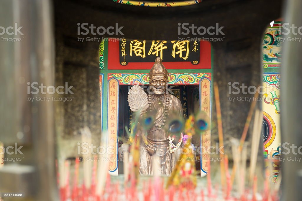 Old chinese temple building style stock photo