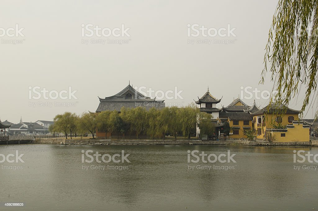 old Chinese twon and temple stock photo