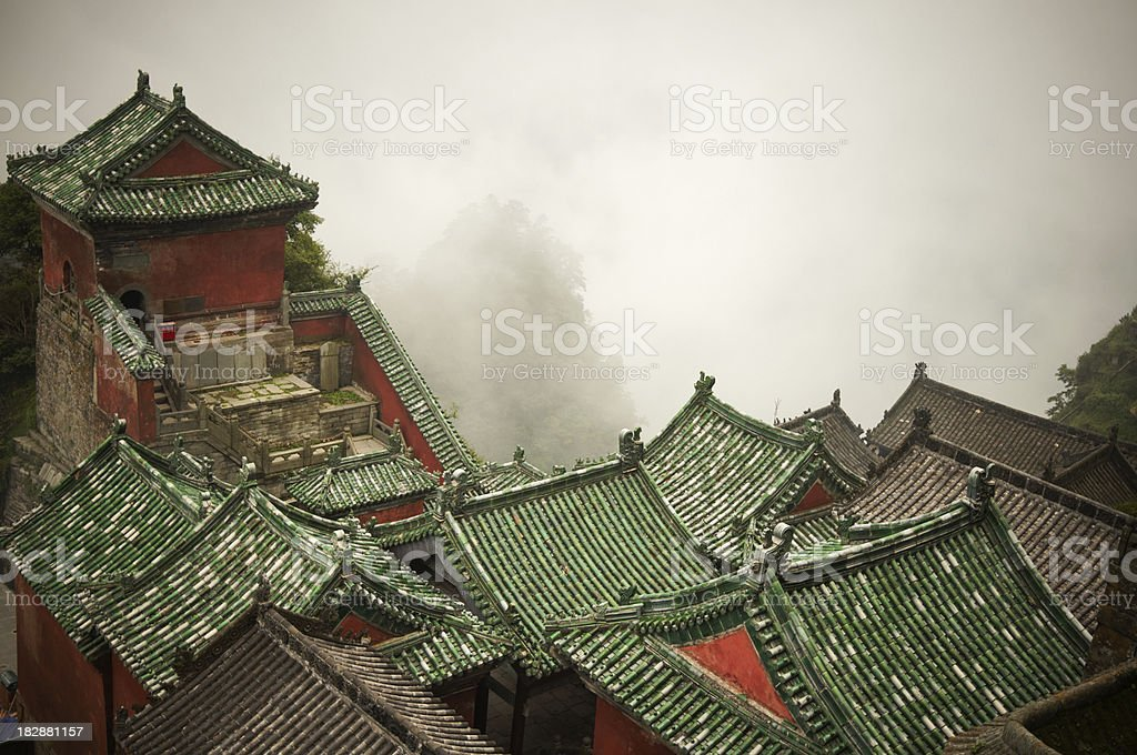 Old chinese village in mountains stock photo