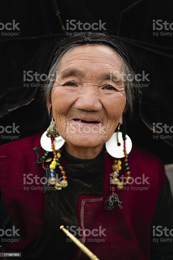 Old Chinese Woman Toothless Smile stock photo
