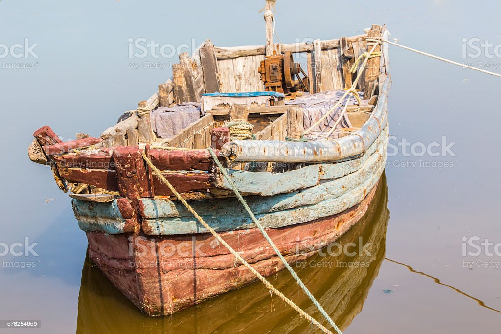 Old Chinese wooden boat stock photo