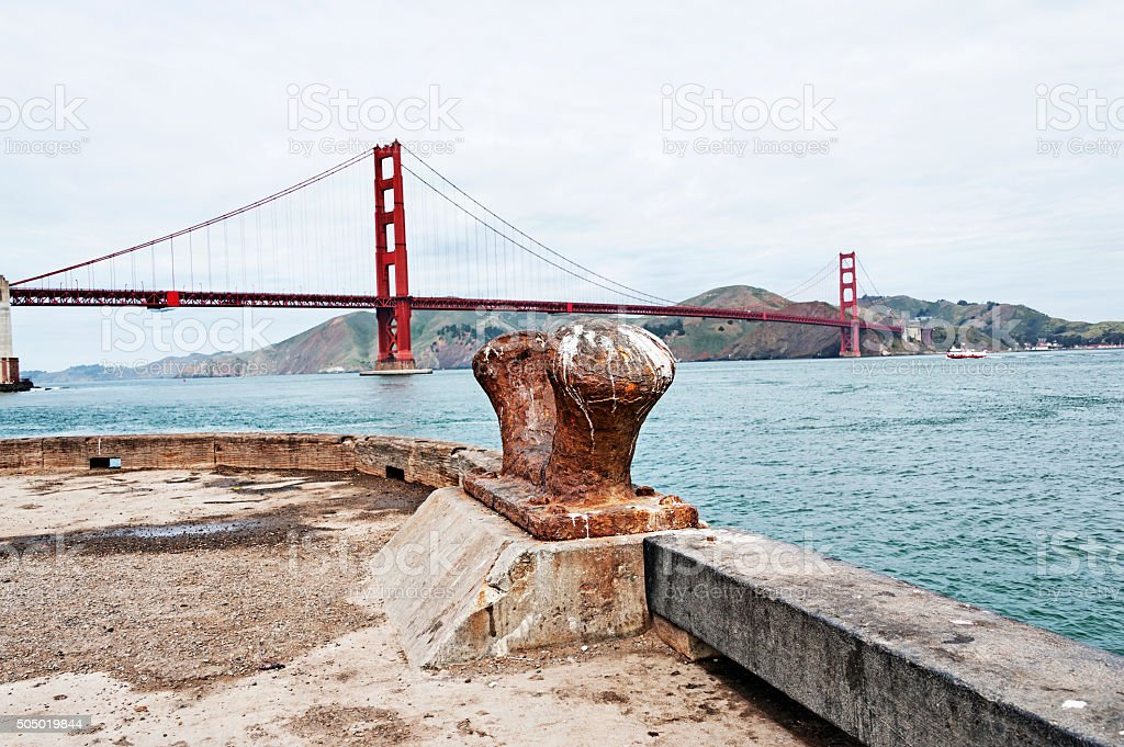 Old Chock San Francisco Bay with Golden Gate Bridge stock photo