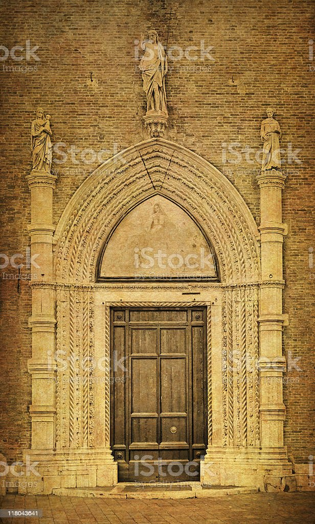 Old Chruch Gate of Frari Venice stock photo