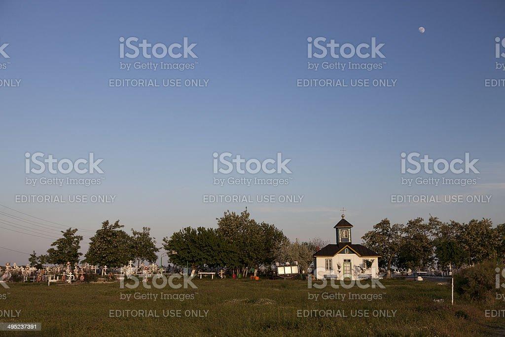 Old church and cemetery, Danube Delta stock photo
