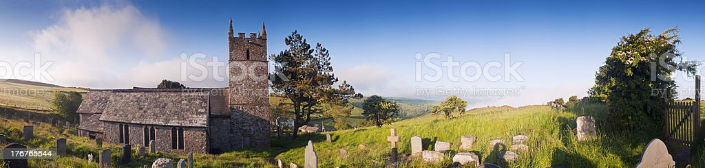 Old church and graveyard in North Devon. stock photo