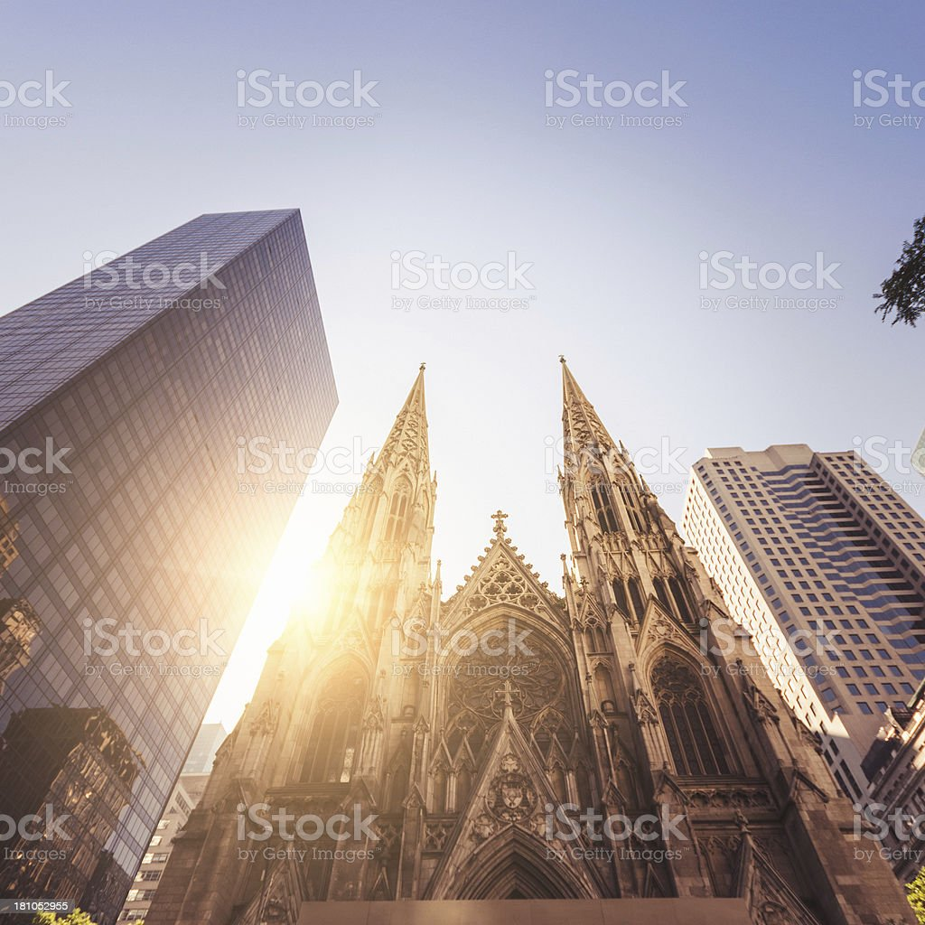 Old Church and tall skyscraper on Manhattan - NYC royalty-free stock photo