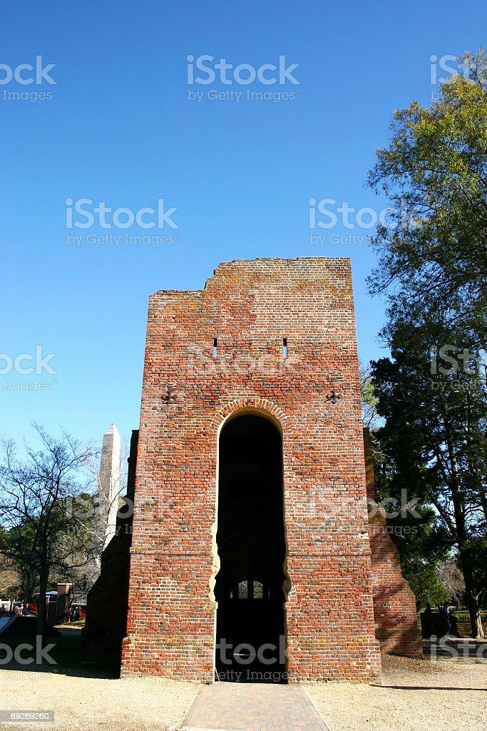 Old church at Jamestown. Virginia royalty-free stock photo