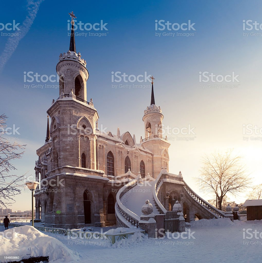 Old Church at winter sunset royalty-free stock photo