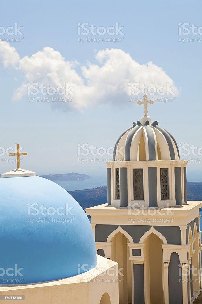 Old church domes in Santorini royalty-free stock photo