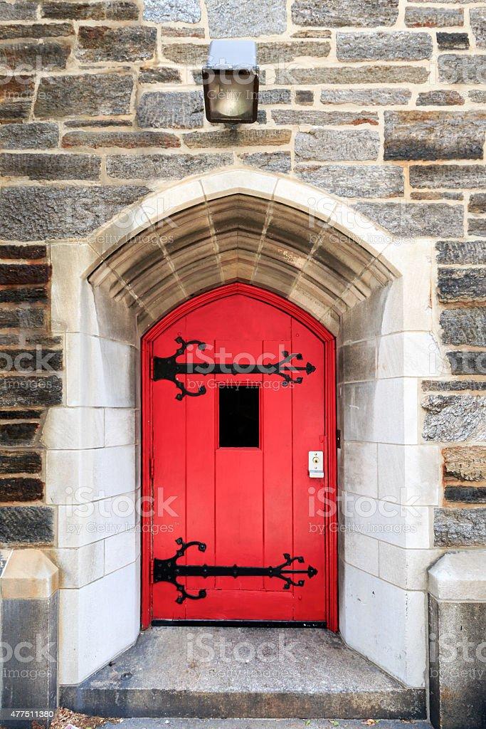 Old Church Door in New York City stock photo
