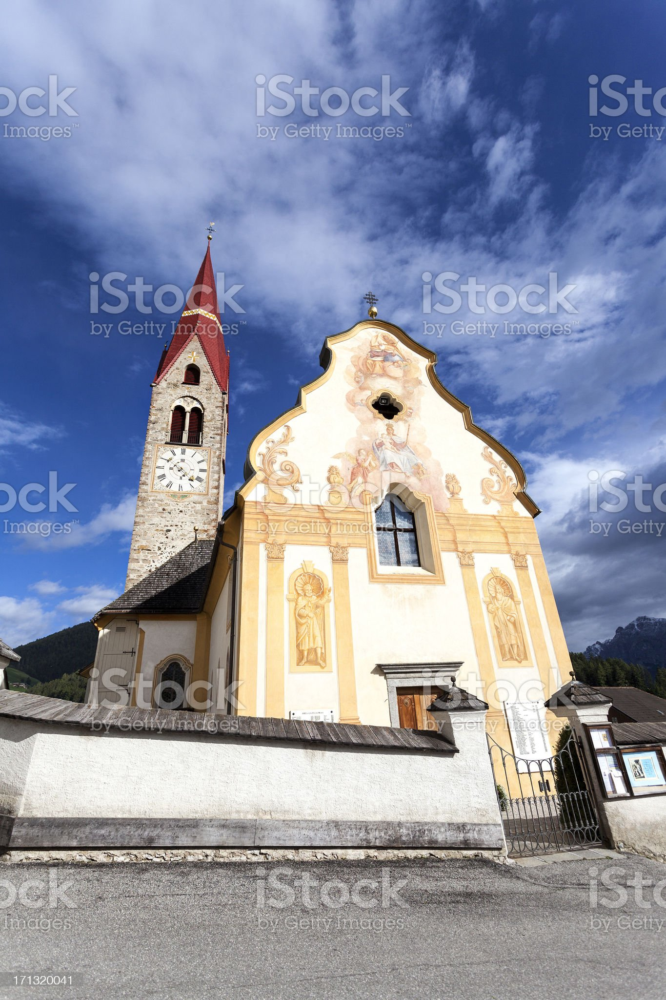Old church in a small village, European Alps, Alto Adige royalty-free stock photo