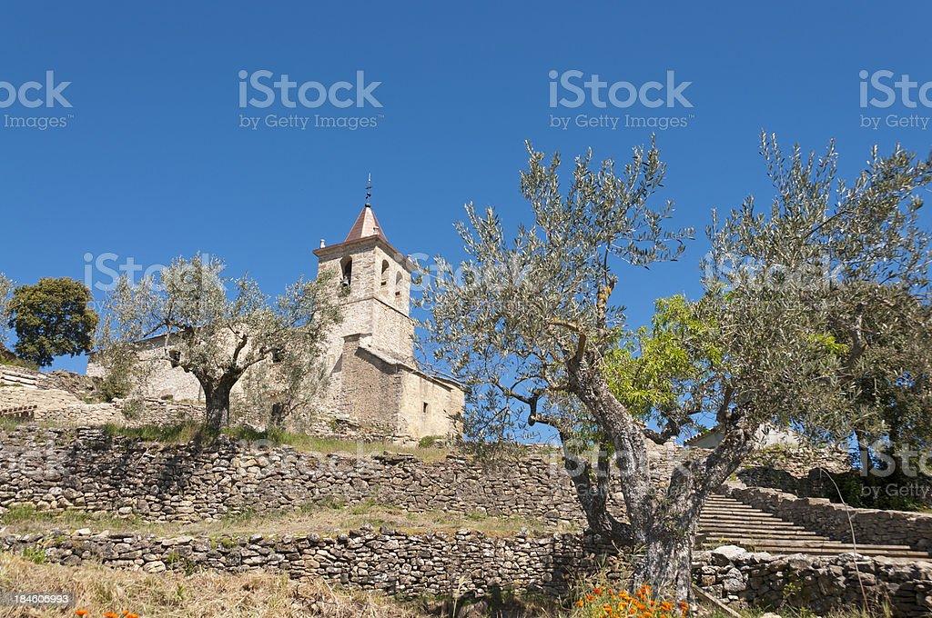 Old church in Almazorre stock photo
