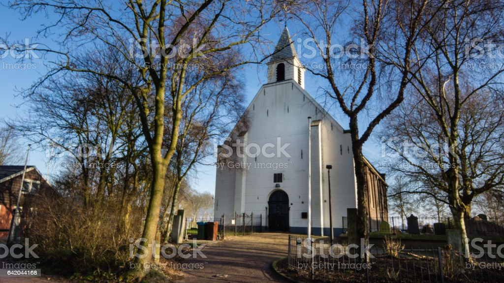 Old church in Durgerdam stock photo