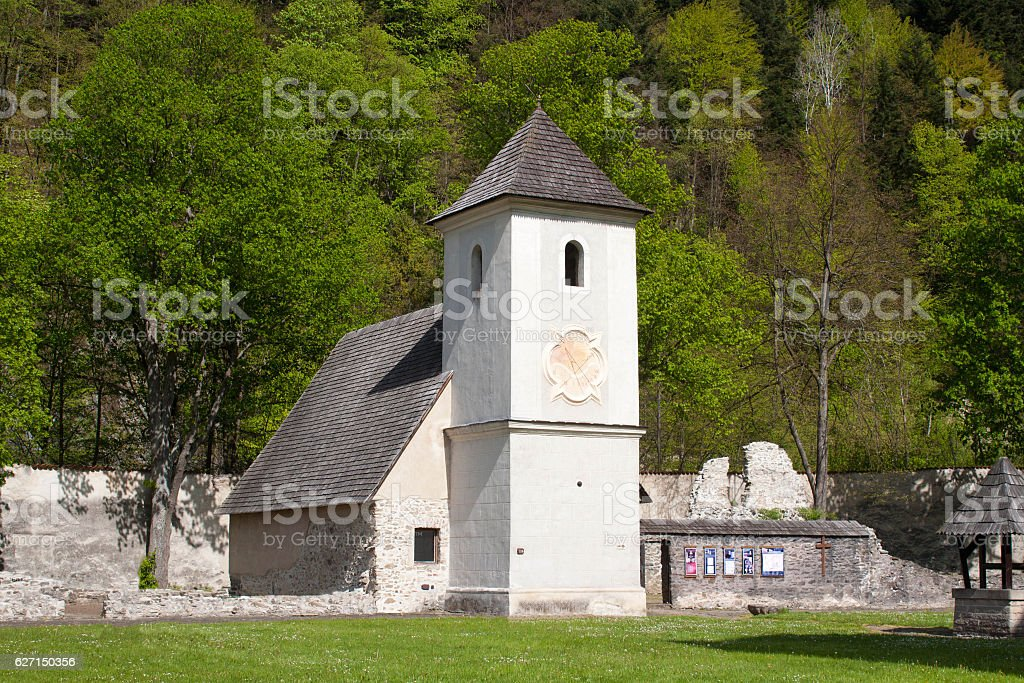 Old church in famous Red Monastery called Cerveny Klastor. stock photo