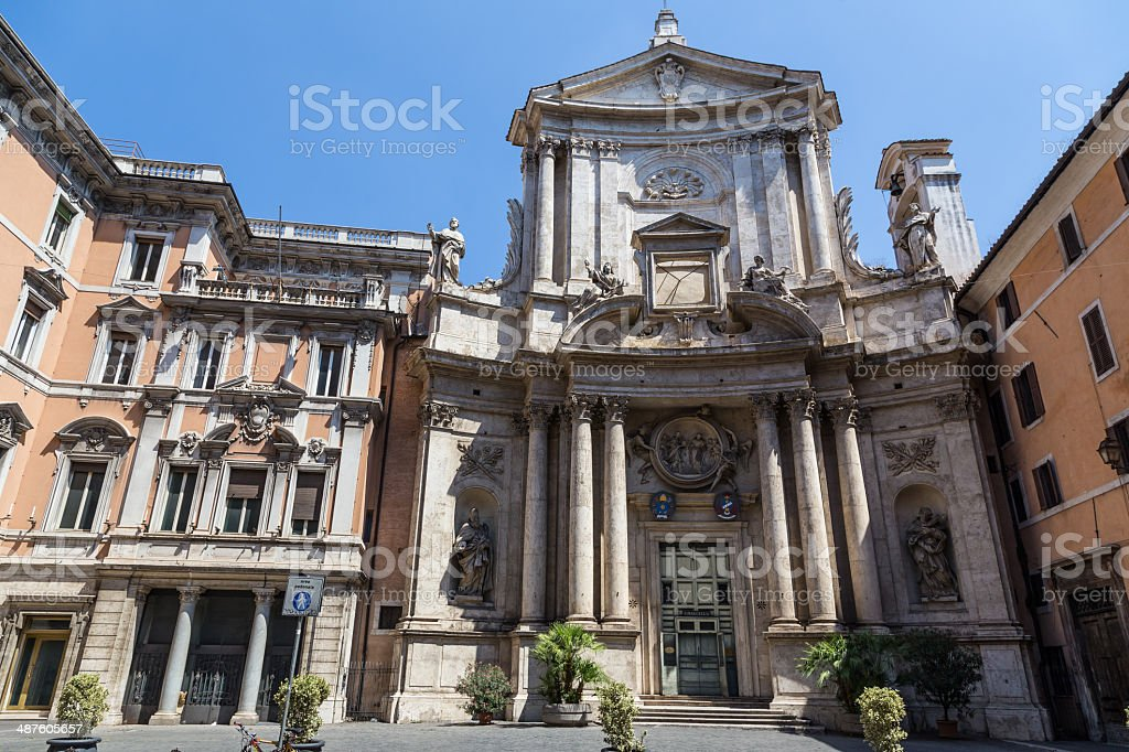old church in historical centre of Rome, Italy stock photo