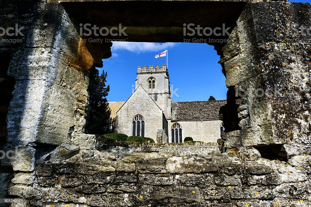 Old Church in Minster Lovell, Oxfordshire, England stock photo