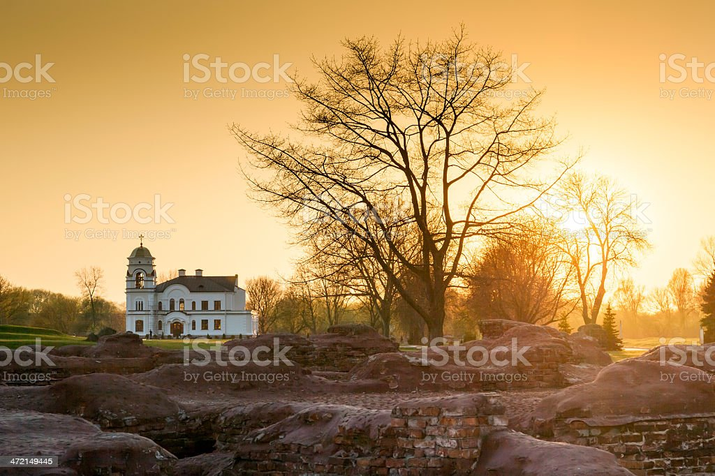 Old church in the ruins of the Brest Fortress, Republic of Belarus stock photo