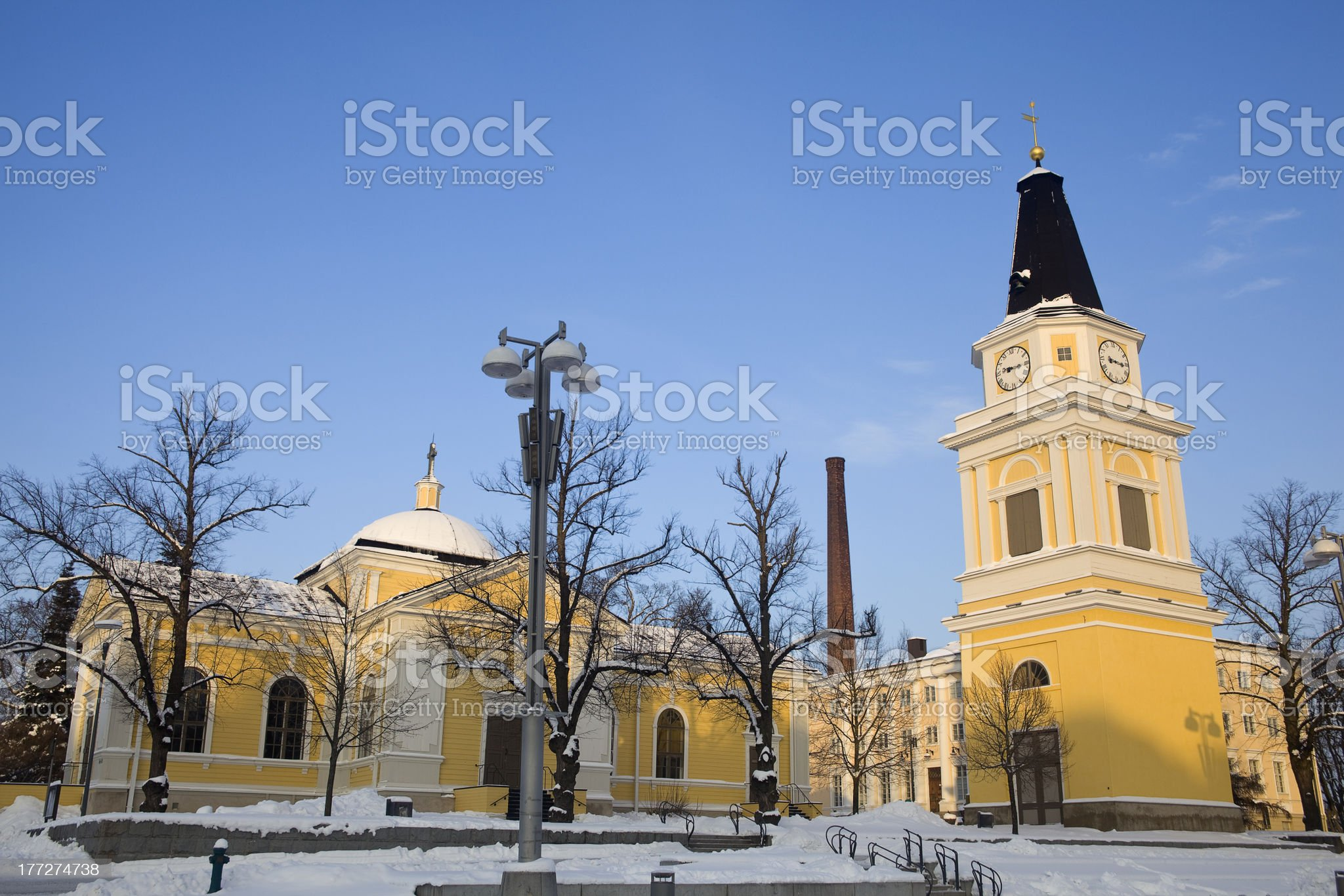 old church in the winter royalty-free stock photo