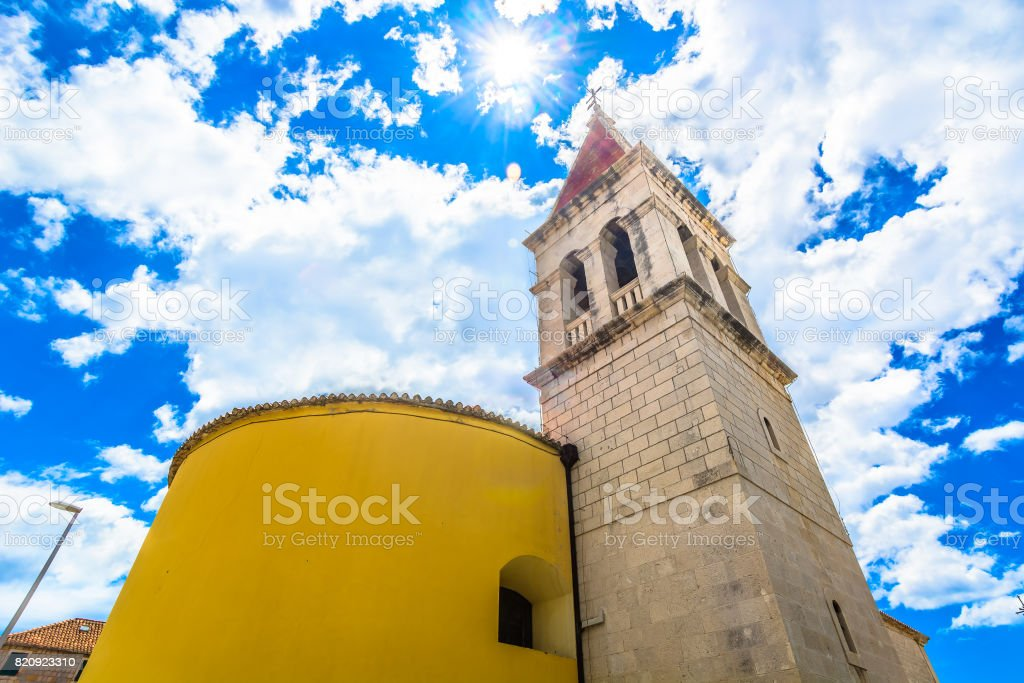 Old church Makarska landmark. stock photo