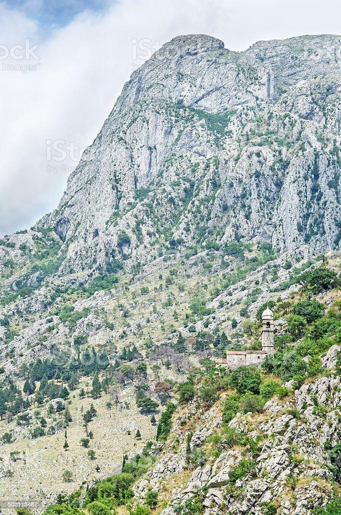 Old church on Lovcen mountain stock photo