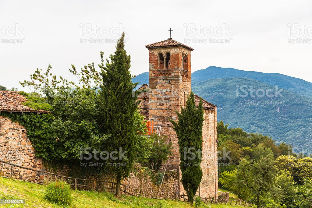 Old church on the hiking path near Lugano stock photo