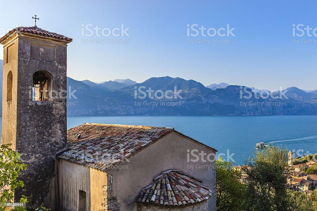 Old church overlooking Lake Garda, Italy stock photo