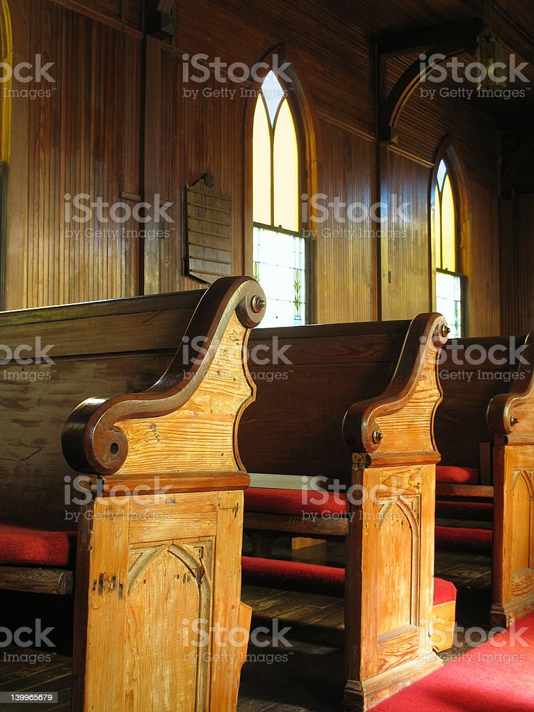 Old Church Pews royalty-free stock photo