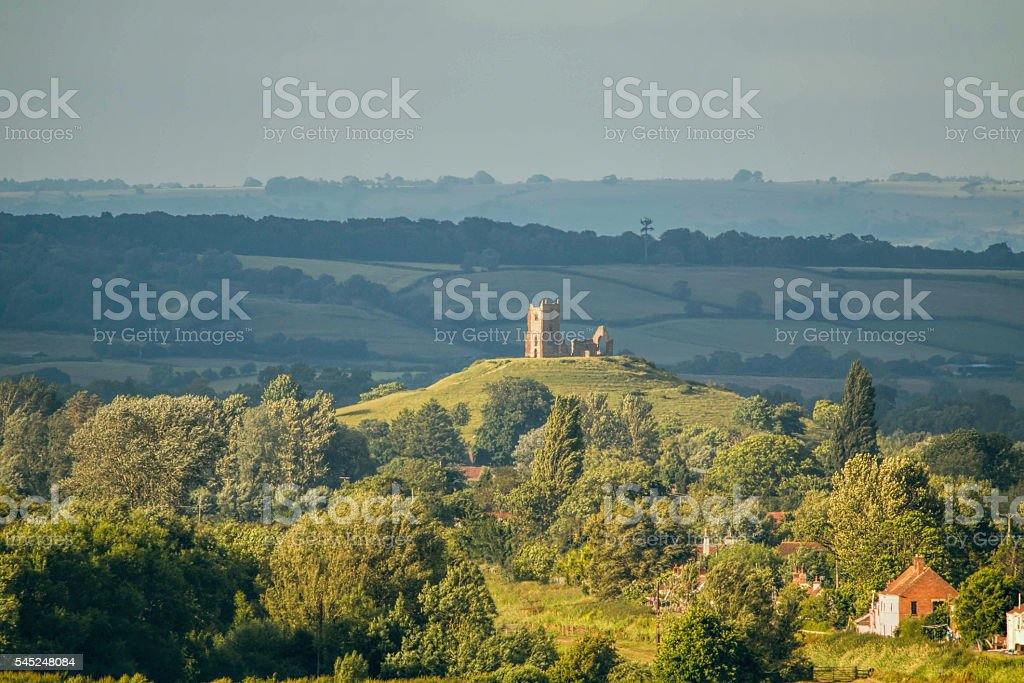 Old Church Ruin On A Hill Landscape. stock photo