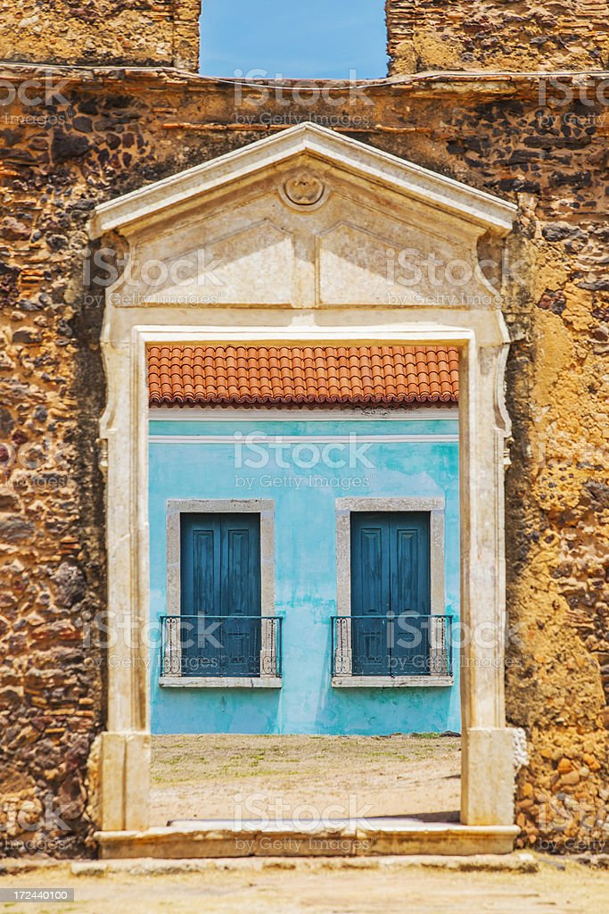 Old church ruins in Brazilian town. stock photo