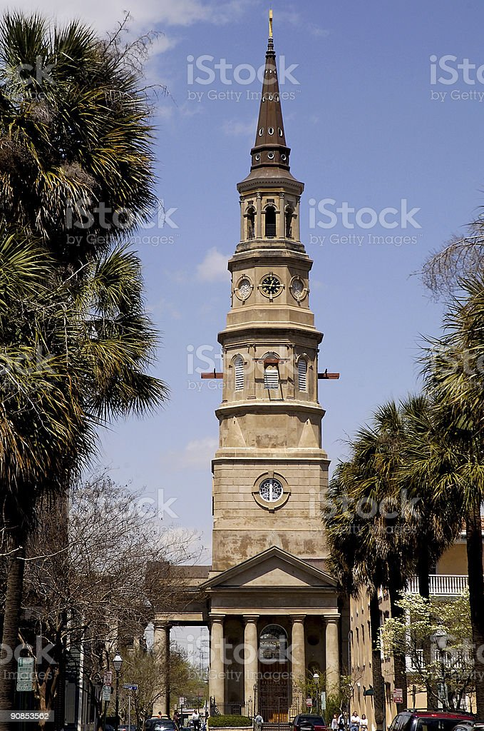 old church steeple under repair royalty-free stock photo