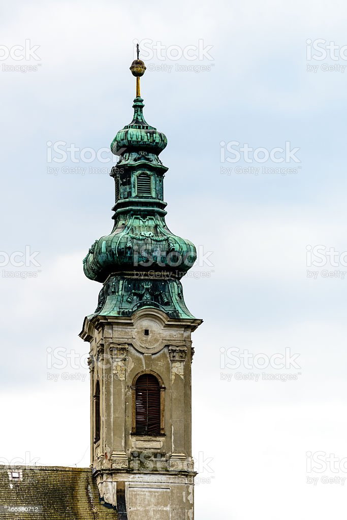 old church tower in Hungary stock photo