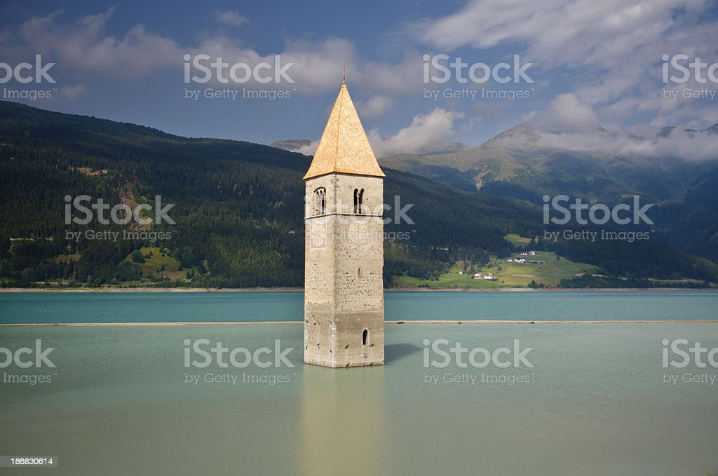 Old Church Tower Of Graun In The Lago Di Resia royalty-free stock photo