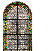 Old church window isolated on square white background, copy space
