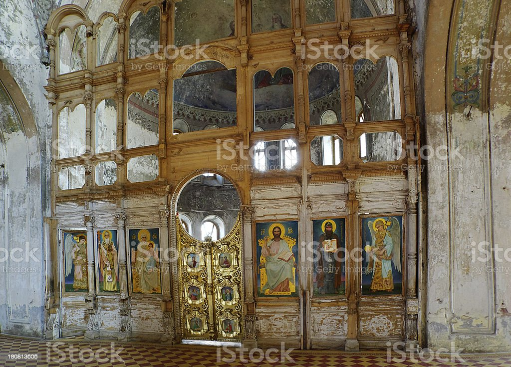 Old church with fresco. stock photo