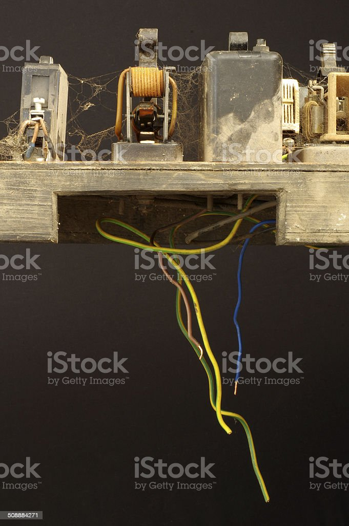 old circuit breaker panel stock photo