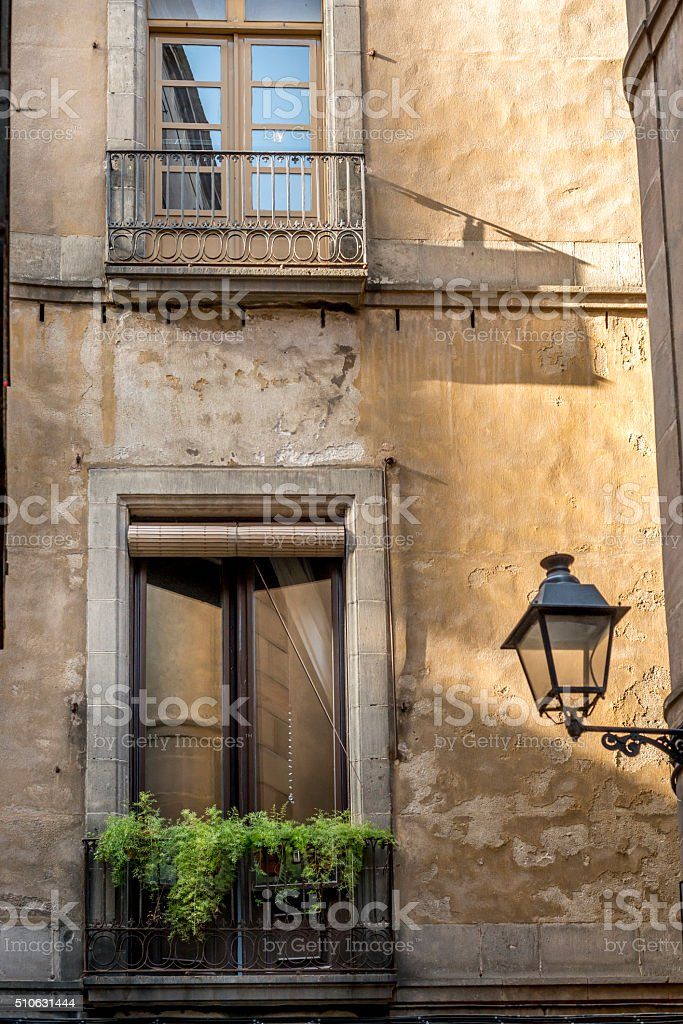 Old city balconi stock photo