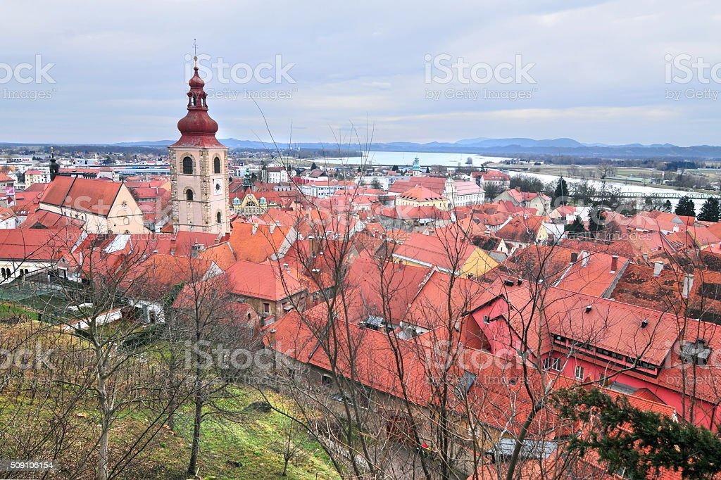 Old city center of Slovenian oldest city, Ptuj stock photo