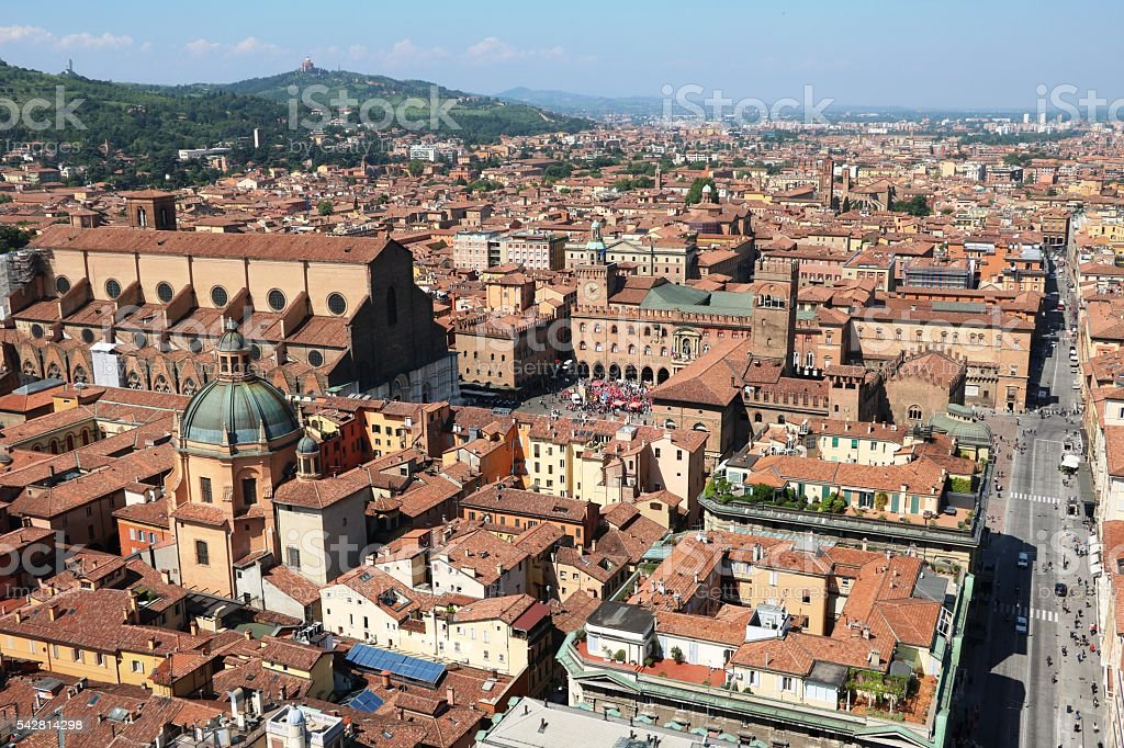 Old City centre of Bologna in Italy stock photo