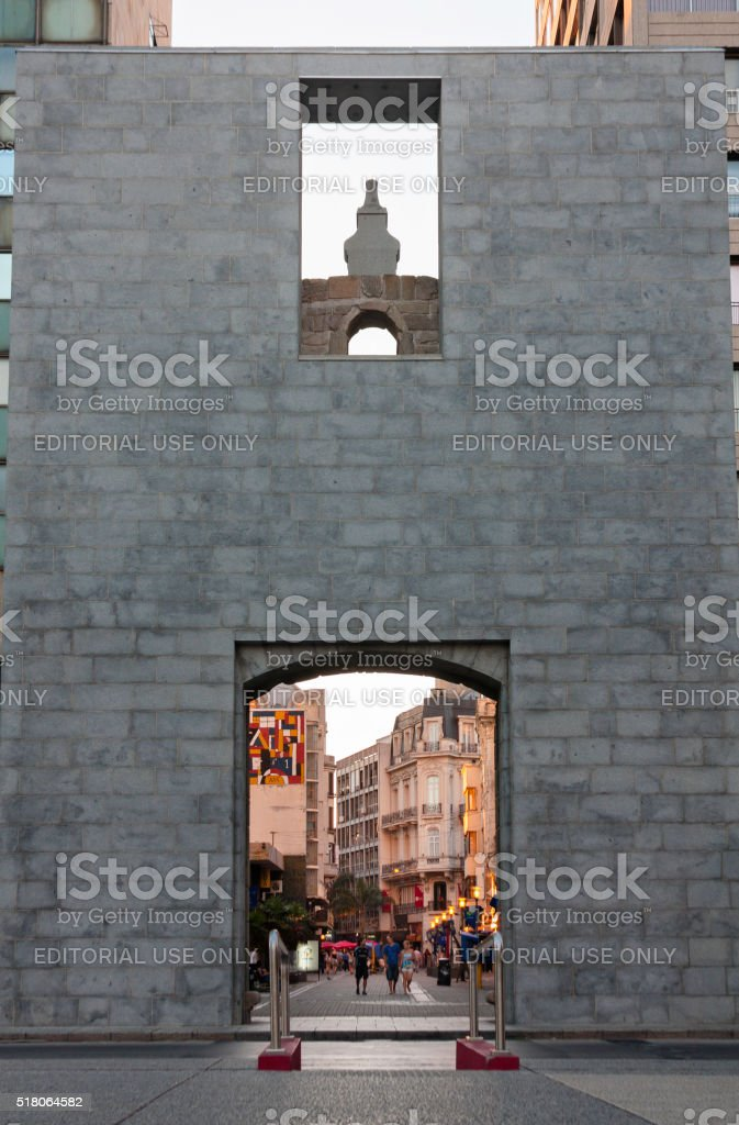 Old city gate in Montevideo stock photo