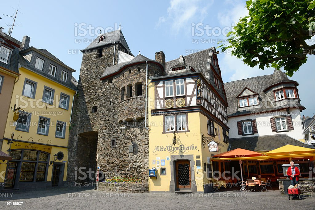 Old city gate of Cochem (Germany) stock photo