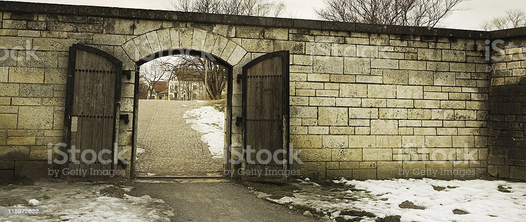 Old City gate of Straubing stock photo