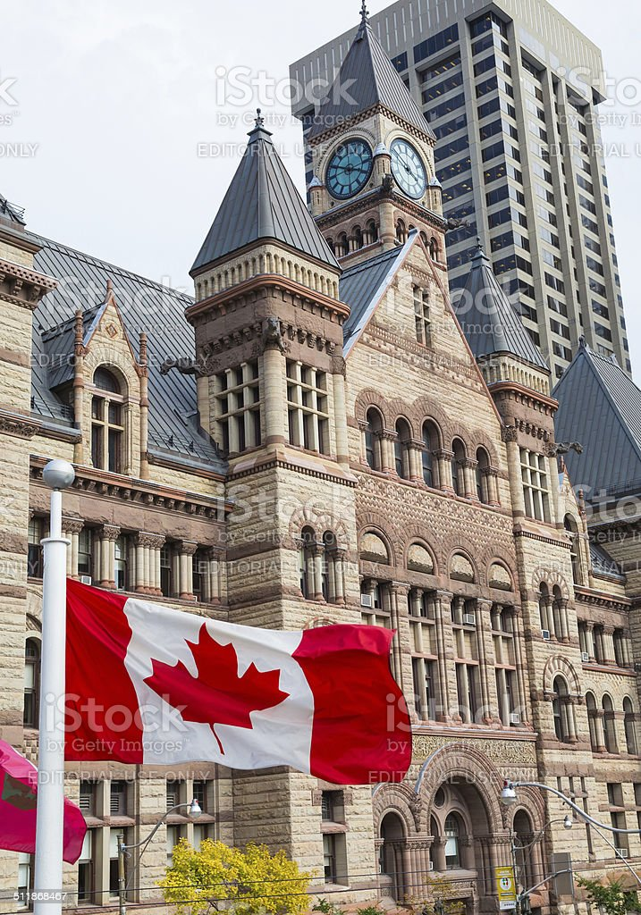 Old City Hall and Canadian Flag stock photo