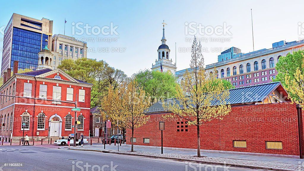 Old City Hall and Independence Hall of Philadelphia in evening stock photo