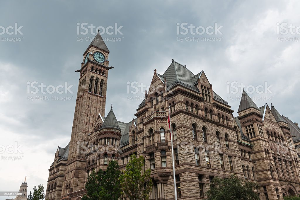 Old City Hall of Toronto against a cloudy sky stock photo